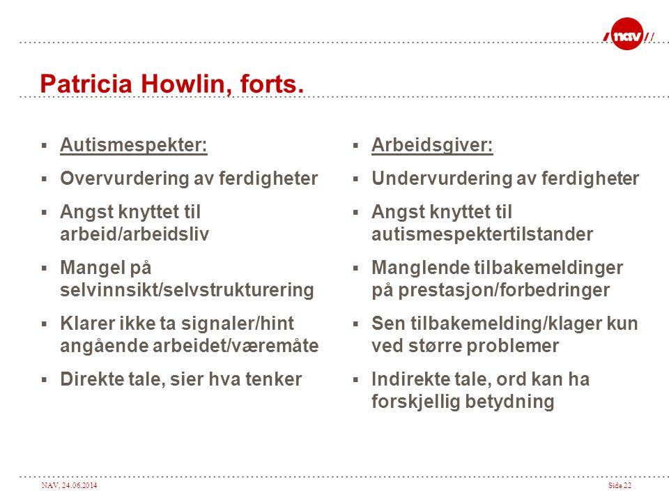 NAV, 24.06.2014Side 22 Patricia Howlin, forts.  Autismespekter:  Overvurdering av ferdigheter  Angst knyttet til arbeid/arbeidsliv  Mangel på selv