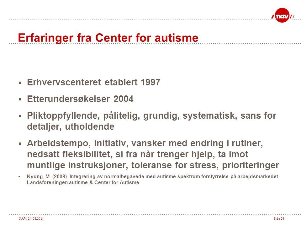 NAV, 24.06.2014Side 24 Erfaringer fra Center for autisme  Erhvervscenteret etablert 1997  Etterundersøkelser 2004  Pliktoppfyllende, pålitelig, gru