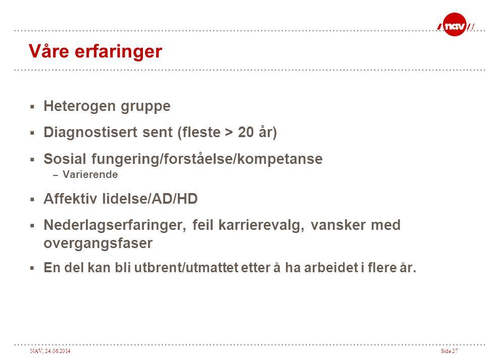 NAV, 24.06.2014Side 27 Våre erfaringer  Heterogen gruppe  Diagnostisert sent (fleste > 20 år)  Sosial fungering/forståelse/kompetanse – Varierende