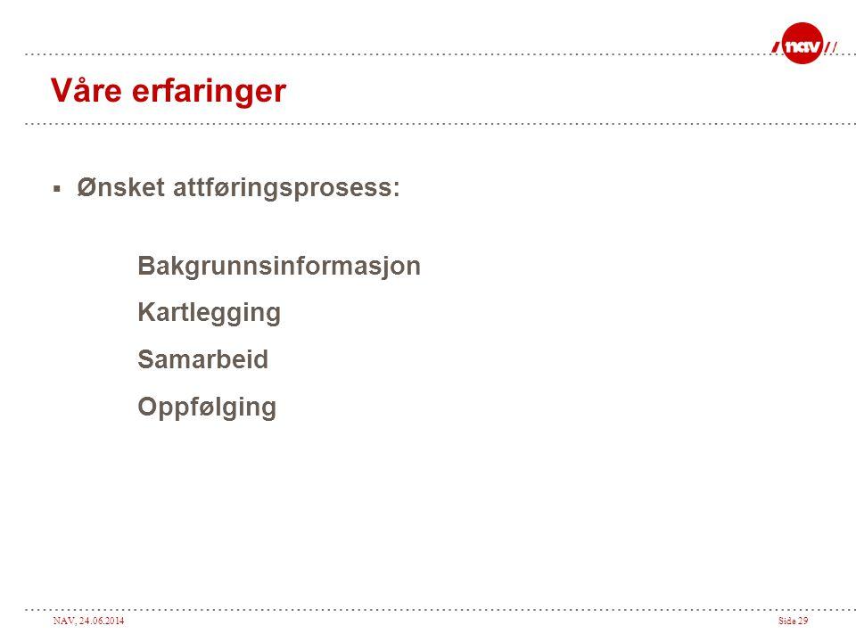 NAV, 24.06.2014Side 29 Våre erfaringer  Ønsket attføringsprosess: Bakgrunnsinformasjon Kartlegging Samarbeid Oppfølging
