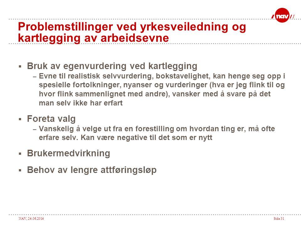NAV, 24.06.2014Side 31 Problemstillinger ved yrkesveiledning og kartlegging av arbeidsevne  Bruk av egenvurdering ved kartlegging – Evne til realisti