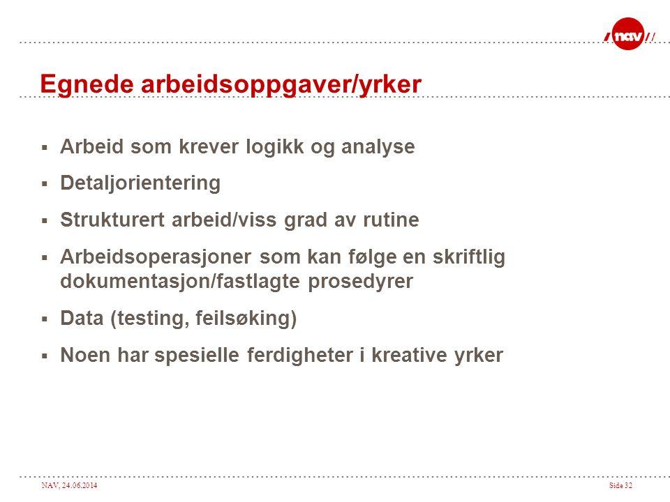 NAV, 24.06.2014Side 32 Egnede arbeidsoppgaver/yrker  Arbeid som krever logikk og analyse  Detaljorientering  Strukturert arbeid/viss grad av rutine