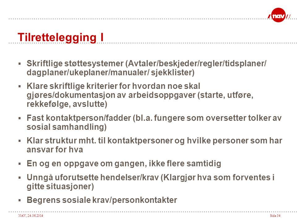 NAV, 24.06.2014Side 34 Tilrettelegging I  Skriftlige støttesystemer (Avtaler/beskjeder/regler/tidsplaner/ dagplaner/ukeplaner/manualer/ sjekklister)