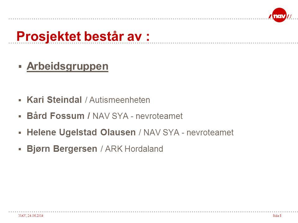 NAV, 24.06.2014Side 8 Prosjektet består av :  Arbeidsgruppen  Kari Steindal / Autismeenheten  Bård Fossum / NAV SYA - nevroteamet  Helene Ugelstad