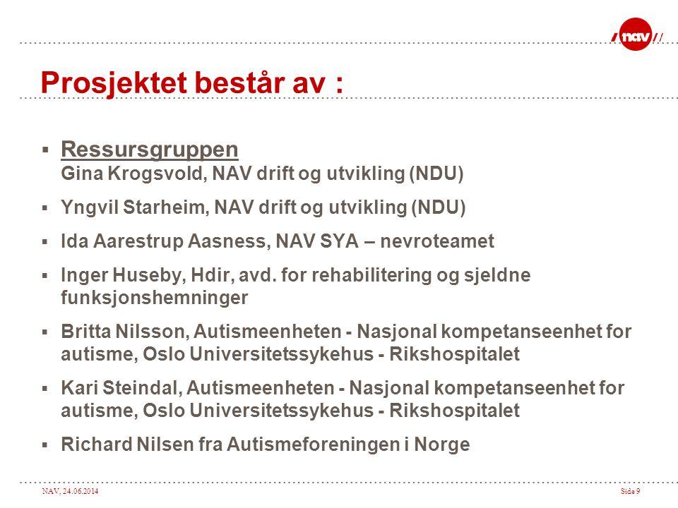 NAV, 24.06.2014Side 9 Prosjektet består av :  Ressursgruppen Gina Krogsvold, NAV drift og utvikling (NDU)  Yngvil Starheim, NAV drift og utvikling (