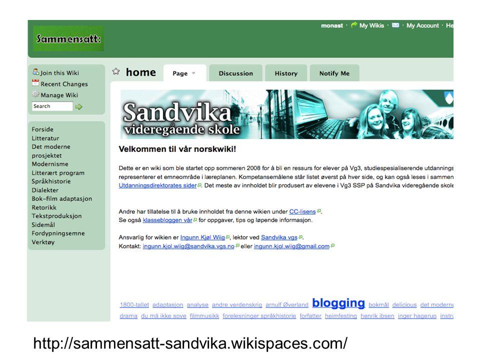 Kastellet skole •Wiki om andre verdenskrig http://sammensatt-sandvika.wikispaces.com/