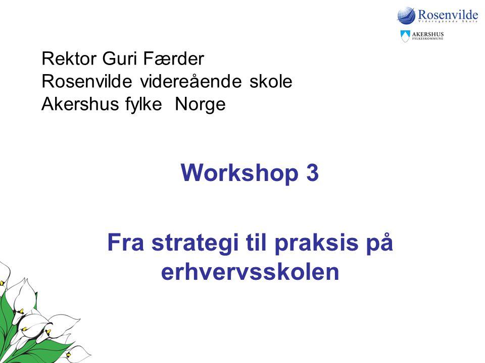Rektor Guri Færder Rosenvilde videreående skole Akershus fylke Norge Workshop 3 Fra strategi til praksis på erhvervsskolen