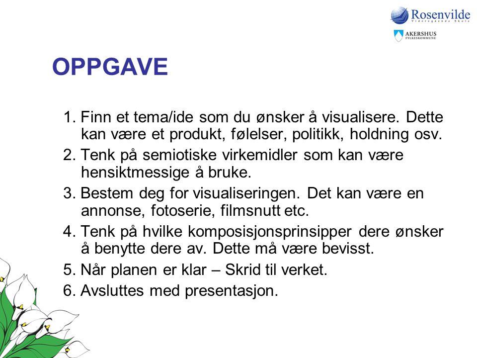 OPPGAVE 1. Finn et tema/ide som du ønsker å visualisere. Dette kan være et produkt, følelser, politikk, holdning osv. 2. Tenk på semiotiske virkemidle