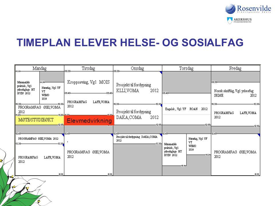 TIMEPLAN ELEVER HELSE- OG SOSIALFAG Elevmedvirkning