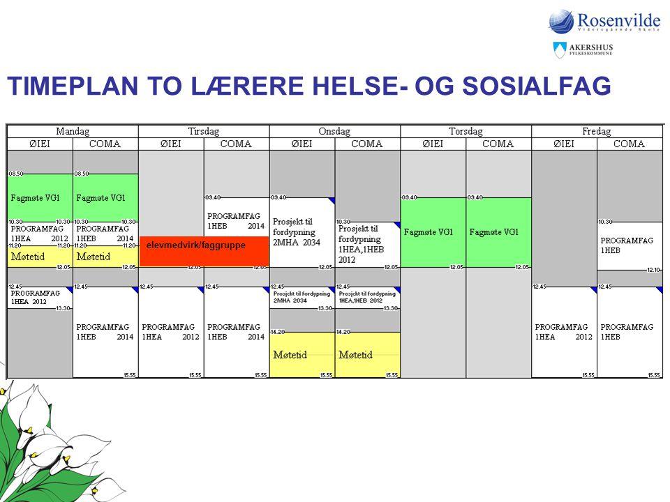 elevmedvirk/faggruppe TIMEPLAN TO LÆRERE HELSE- OG SOSIALFAG