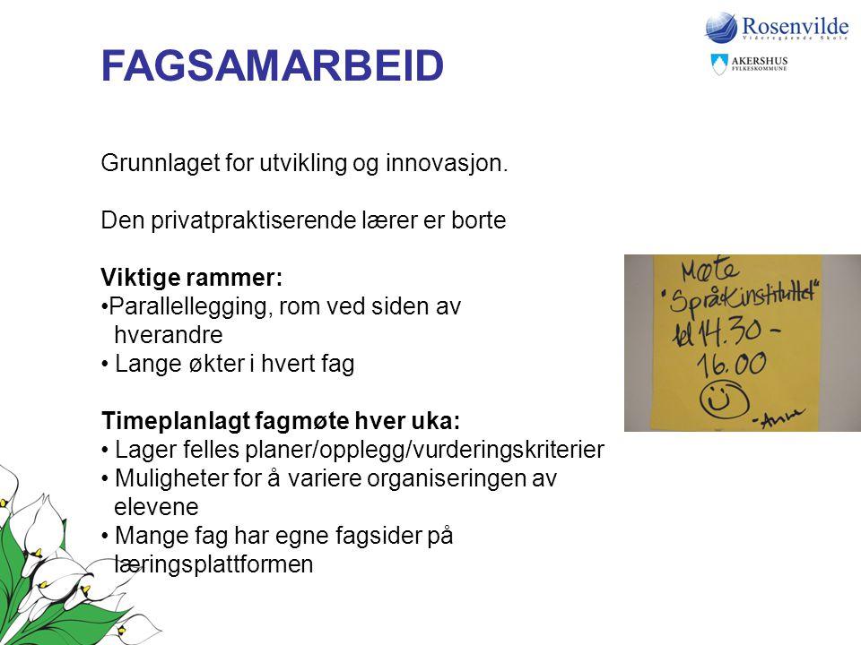 FAGSAMARBEID Grunnlaget for utvikling og innovasjon.