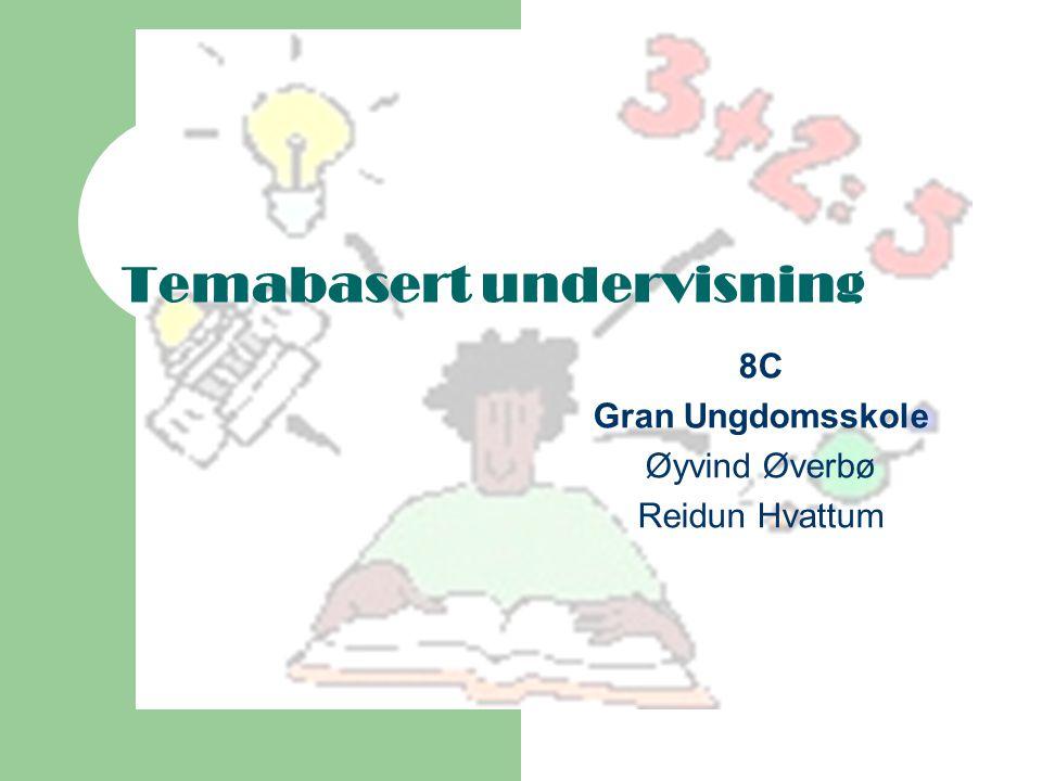 Temabasert undervisning 8C Gran Ungdomsskole Øyvind Øverbø Reidun Hvattum