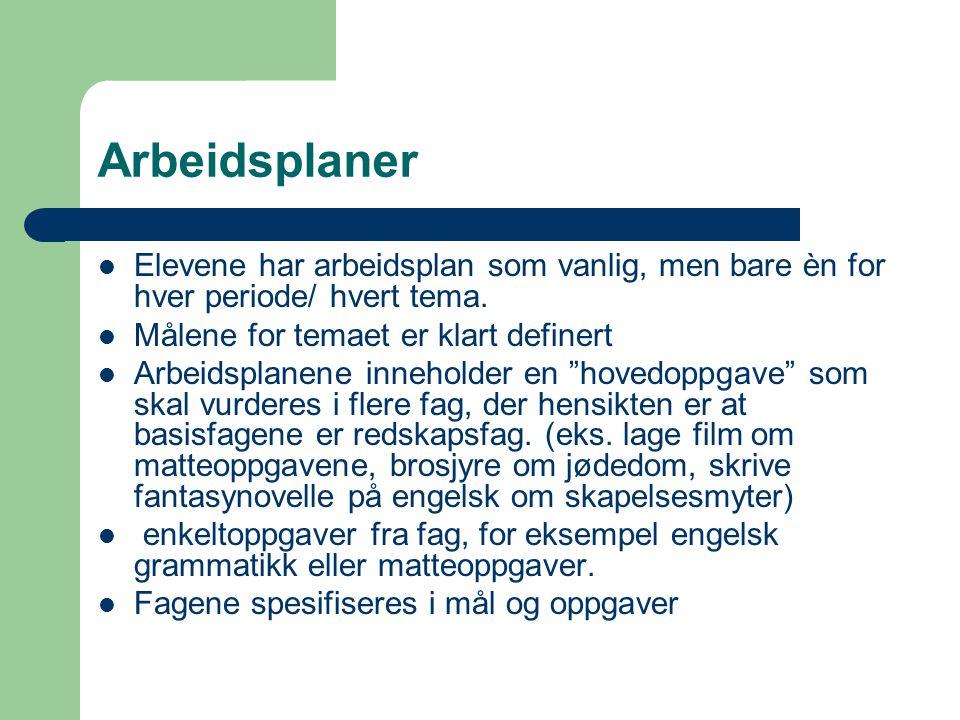 Arbeidsplaner  Elevene har arbeidsplan som vanlig, men bare èn for hver periode/ hvert tema.