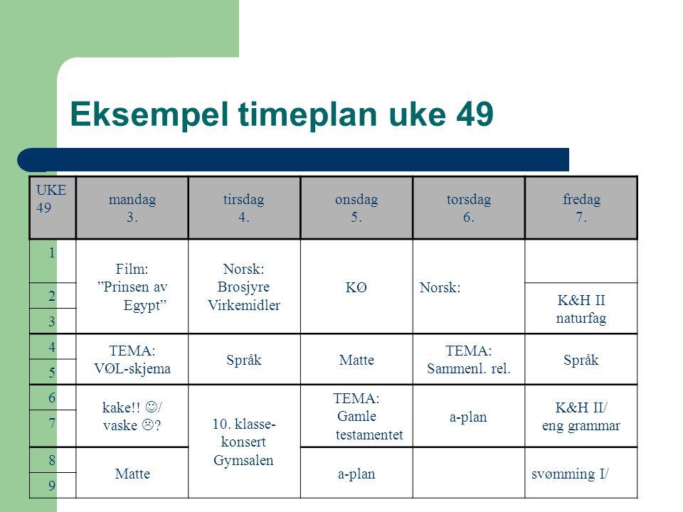 Eksempel timeplan uke 49 UKE 49 mandag 3.tirsdag 4.
