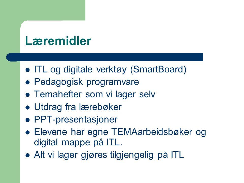 Læremidler  ITL og digitale verktøy (SmartBoard)  Pedagogisk programvare  Temahefter som vi lager selv  Utdrag fra lærebøker  PPT-presentasjoner  Elevene har egne TEMAarbeidsbøker og digital mappe på ITL.