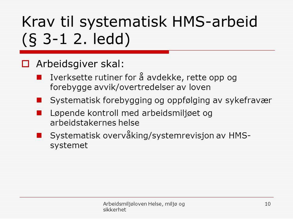 Krav til systematisk HMS-arbeid (§ 3-1 2. ledd)  Arbeidsgiver skal:  Iverksette rutiner for å avdekke, rette opp og forebygge avvik/overtredelser av