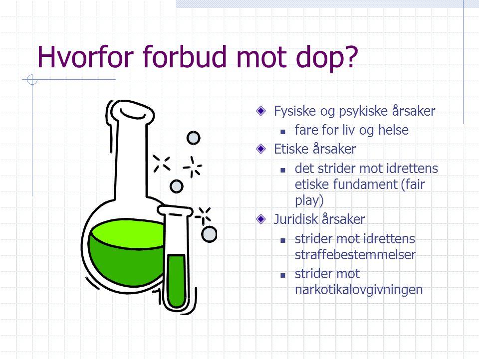 Dopingmidler og metoder Medikamenter  Stimulerende, narkotiske midler, anabole stereoider, betablokkere, diuretika Metoder  Bloddoping og bruk av ho