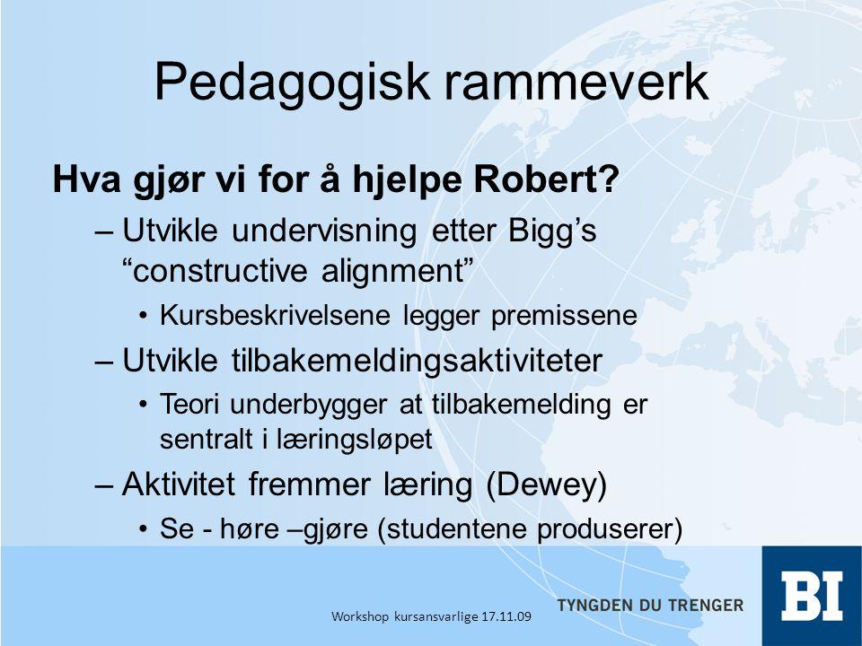 Pedagogisk rammeverk Hva gjør vi for å hjelpe Robert.