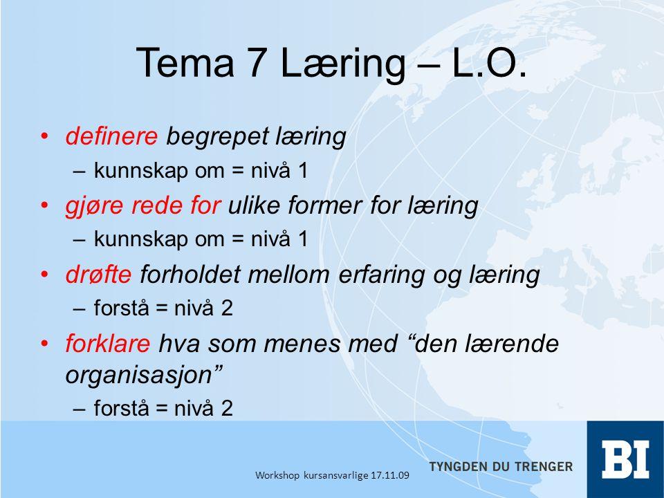 Tema 7 Læring – L.O.