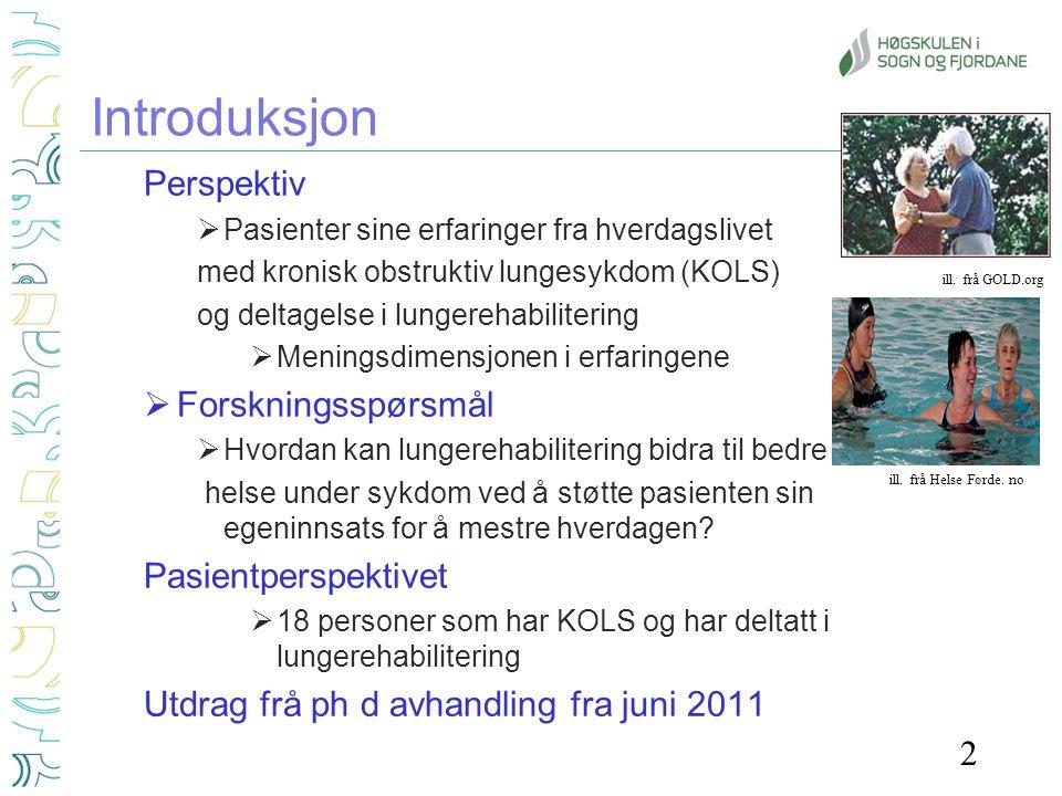 Forekomst og utvikling Globalt •ca 210 mill har KOLS •Økende forekomst (WHO 2009;GOLD 2009) I Norge •ca 200 000, 20 000 alvorlig (Folkehelseinstituttet 2011) Risikofaktorer •Arbeidslivsforurensning, tobakksrøyk, annen forurensning •Genetikk, komorbiditet, sosiale faktorer Patofysiologi og utvikling –Kronisk betennelse –Obstruksjon, bronkitt, emfysem –Gradvis nedsatt lungefunksjon og tilleggsproblem -Gjentatte akutte episodar (Gulsvik og Bakke 2004; GOLD 2009; HOD 2006) Ill.: Web.md 3