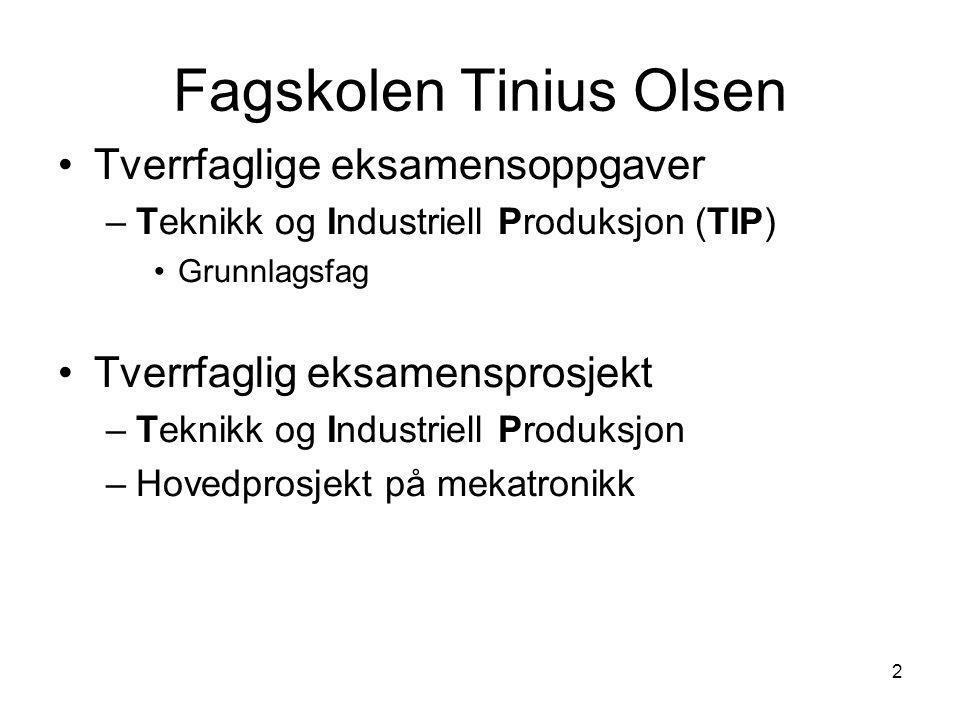 2 Fagskolen Tinius Olsen •Tverrfaglige eksamensoppgaver –Teknikk og Industriell Produksjon (TIP) •Grunnlagsfag •Tverrfaglig eksamensprosjekt –Teknikk og Industriell Produksjon –Hovedprosjekt på mekatronikk