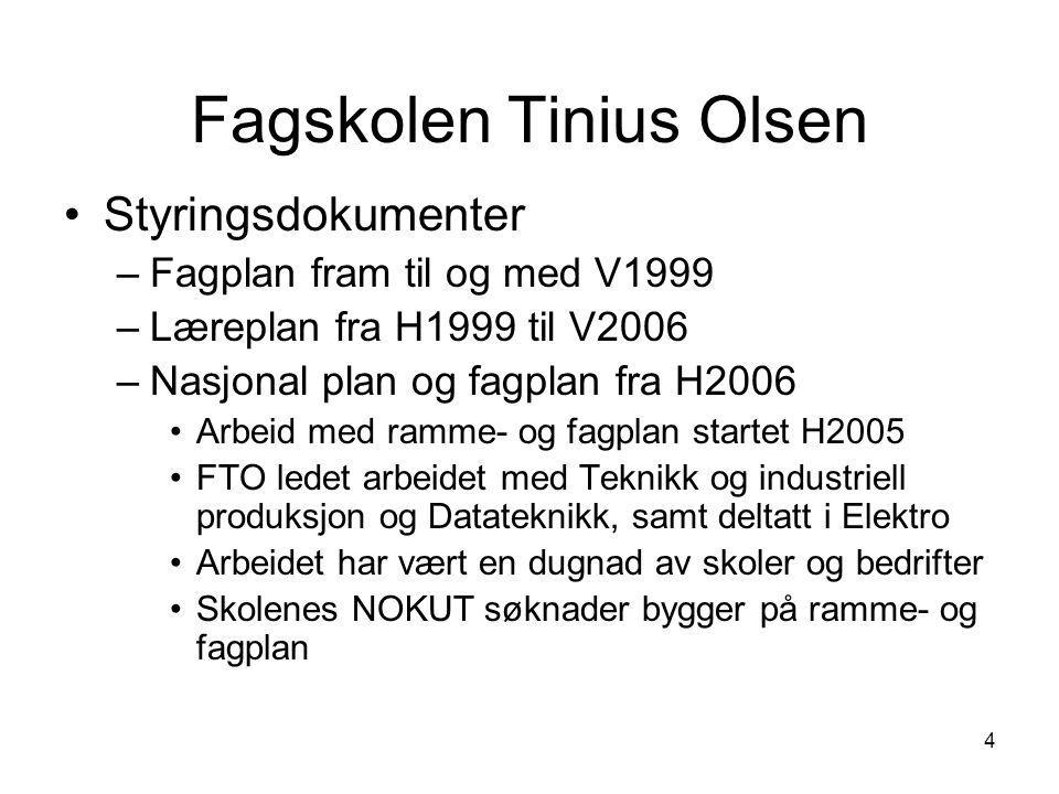 4 Fagskolen Tinius Olsen •Styringsdokumenter –Fagplan fram til og med V1999 –Læreplan fra H1999 til V2006 –Nasjonal plan og fagplan fra H2006 •Arbeid
