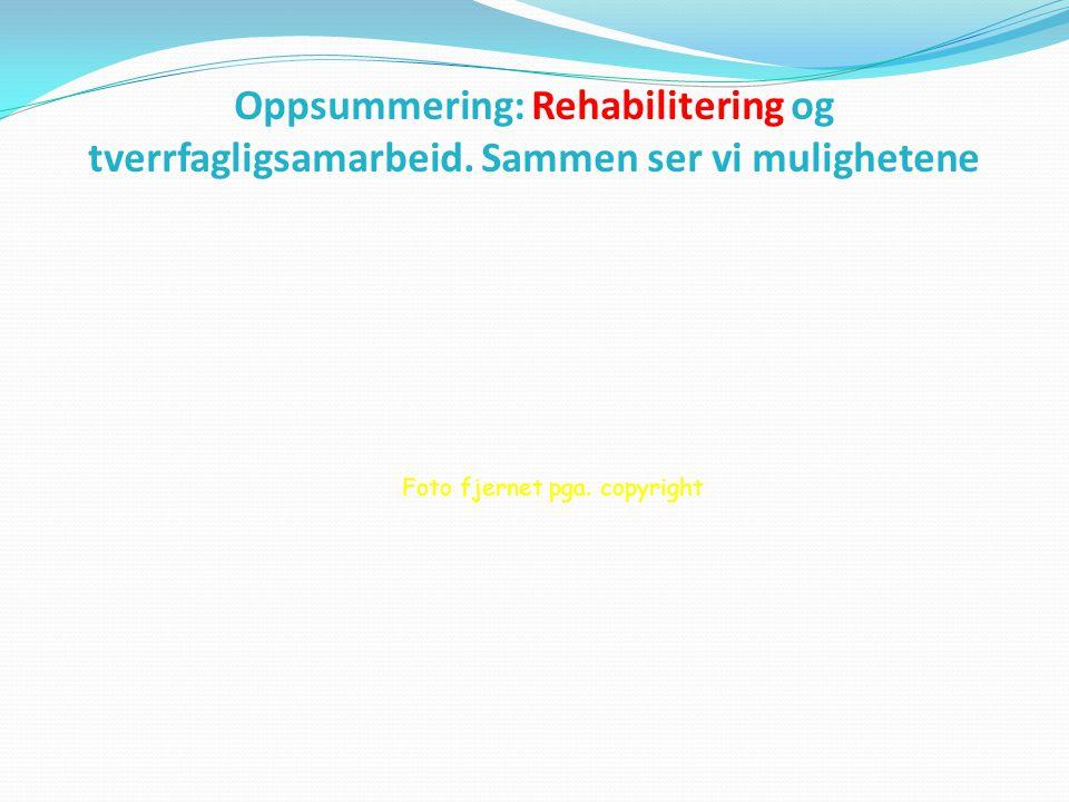 Oppsummering: Rehabilitering og tverrfagligsamarbeid. Sammen ser vi mulighetene Foto fjernet pga. copyright