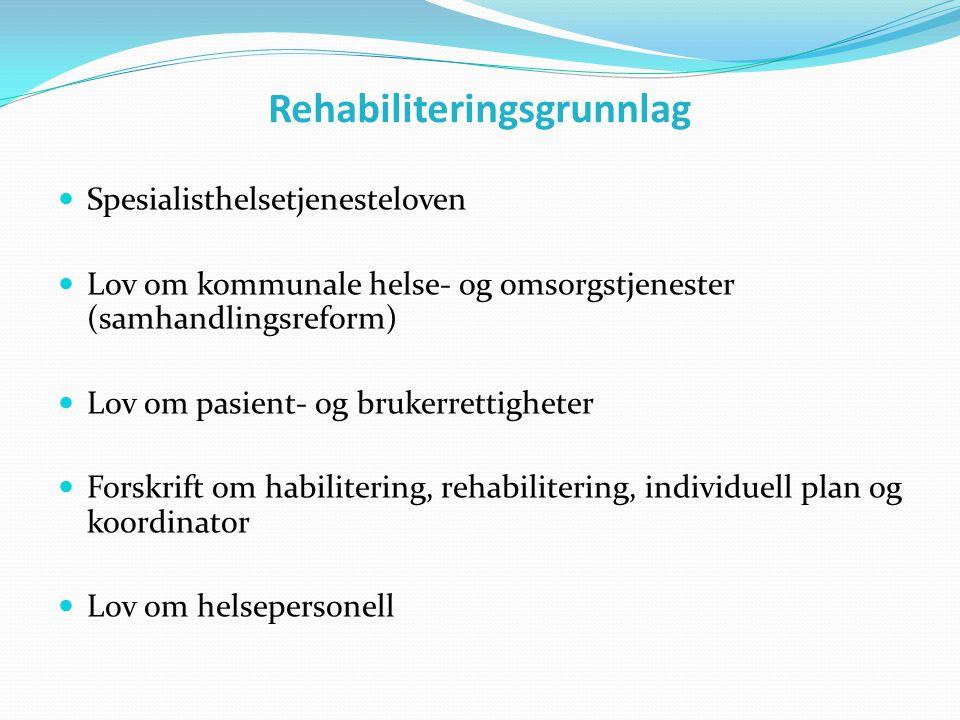 Rehabiliteringsgrunnlag  Spesialisthelsetjenesteloven  Lov om kommunale helse- og omsorgstjenester (samhandlingsreform)  Lov om pasient- og brukerr