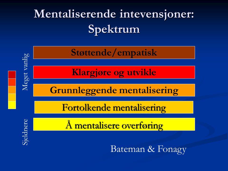 Mentaliserende intevensjoner: Spektrum Støttende/empatisk Klargjøre og utvikle Grunnleggende mentalisering Fortolkende mentalisering Å mentalisere overføring Meget vanlig Sjeldnere Bateman & Fonagy