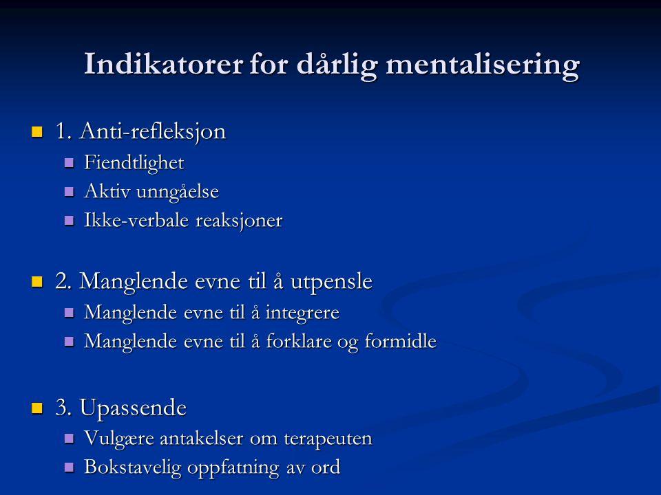 Indikatorer for dårlig mentalisering  1.