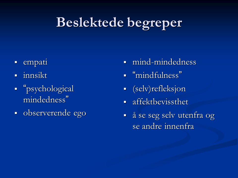 Beslektede begreper  empati  innsikt  psychological mindedness  observerende ego  mind-mindedness  mindfulness  (selv)refleksjon  affektbevissthet  å se seg selv utenfra og se andre innenfra