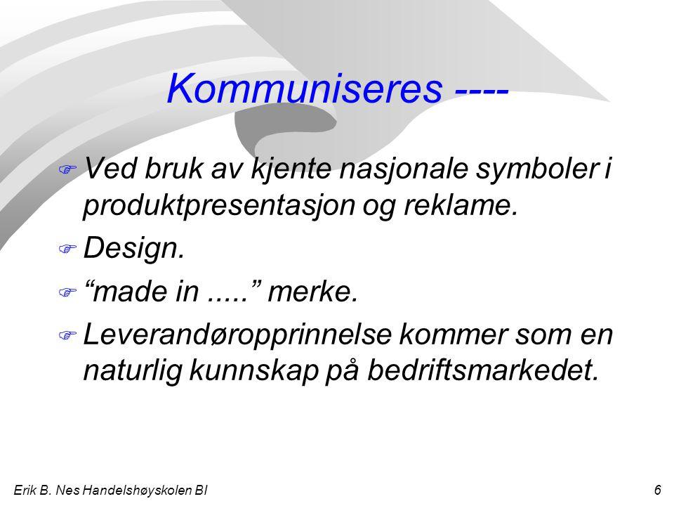 """Erik B. Nes Handelshøyskolen BI 6 Kommuniseres ---- F Ved bruk av kjente nasjonale symboler i produktpresentasjon og reklame. F Design. F """"made in...."""