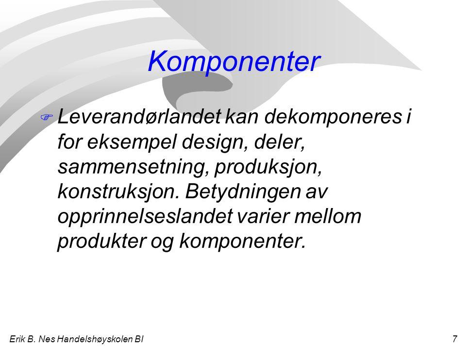 Erik B. Nes Handelshøyskolen BI 7 Komponenter F Leverandørlandet kan dekomponeres i for eksempel design, deler, sammensetning, produksjon, konstruksjo