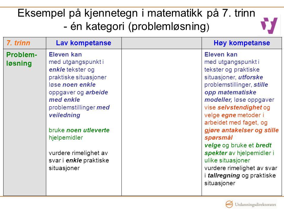 Eksempel på kjennetegn i matematikk på 7. trinn - én kategori (problemløsning ) 7. trinnLav kompetanseHøy kompetanse Problem- løsning Eleven kan med u