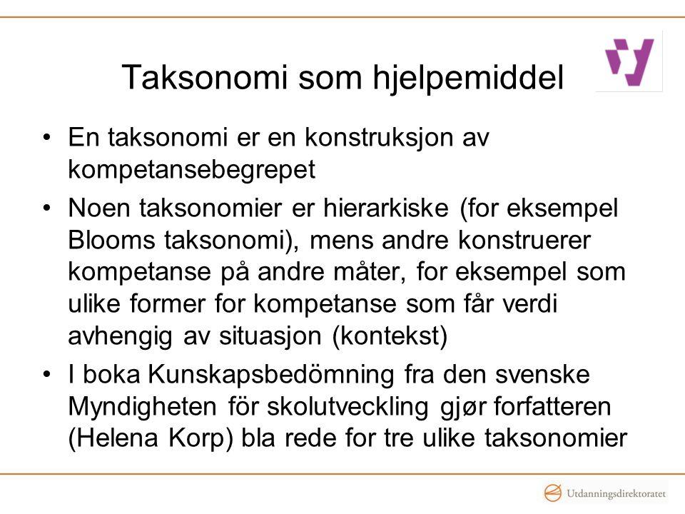 Taksonomi som hjelpemiddel •En taksonomi er en konstruksjon av kompetansebegrepet •Noen taksonomier er hierarkiske (for eksempel Blooms taksonomi), me