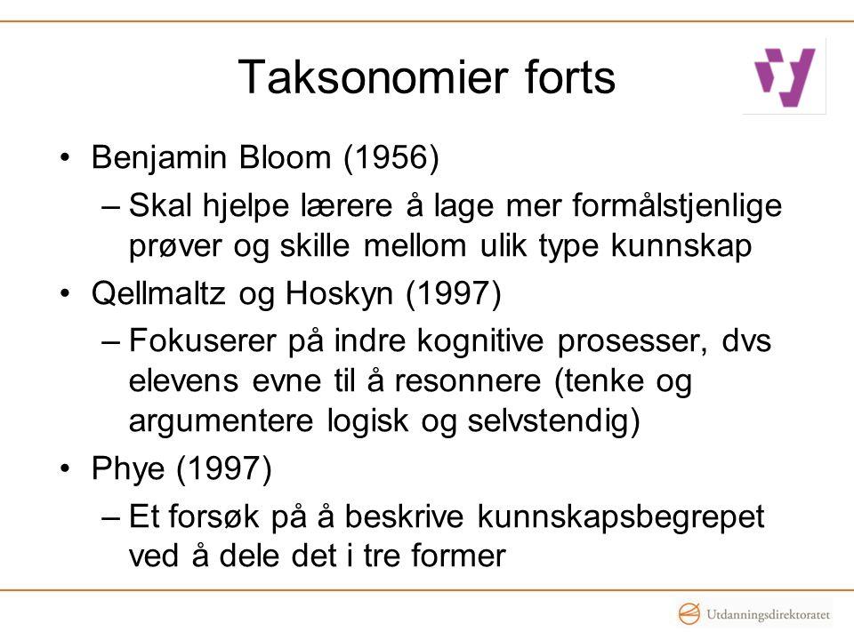 Taksonomier forts •Benjamin Bloom (1956) –Skal hjelpe lærere å lage mer formålstjenlige prøver og skille mellom ulik type kunnskap •Qellmaltz og Hosky