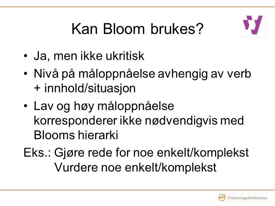 Kan Bloom brukes? •Ja, men ikke ukritisk •Nivå på måloppnåelse avhengig av verb + innhold/situasjon •Lav og høy måloppnåelse korresponderer ikke nødve