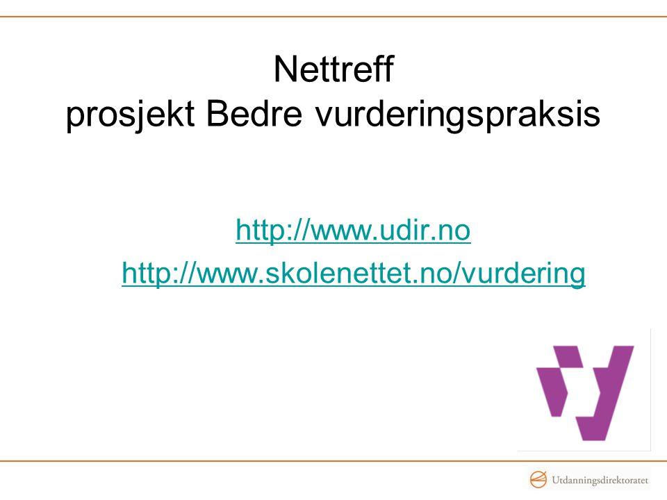 Nettreff prosjekt Bedre vurderingspraksis http://www.udir.no http://www.skolenettet.no/vurdering