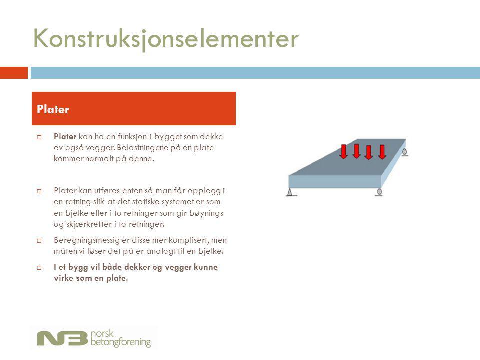 Konstruksjonselementer  Plater kan ha en funksjon i bygget som dekke ev også vegger. Belastningene på en plate kommer normalt på denne.  Plater kan