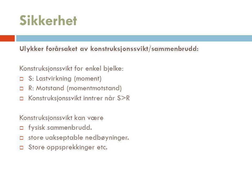 Sikkerhet Ulykker forårsaket av konstruksjonssvikt/sammenbrudd: Konstruksjonssvikt for enkel bjelke:  S: Lastvirkning (moment)  R: Motstand (momentm
