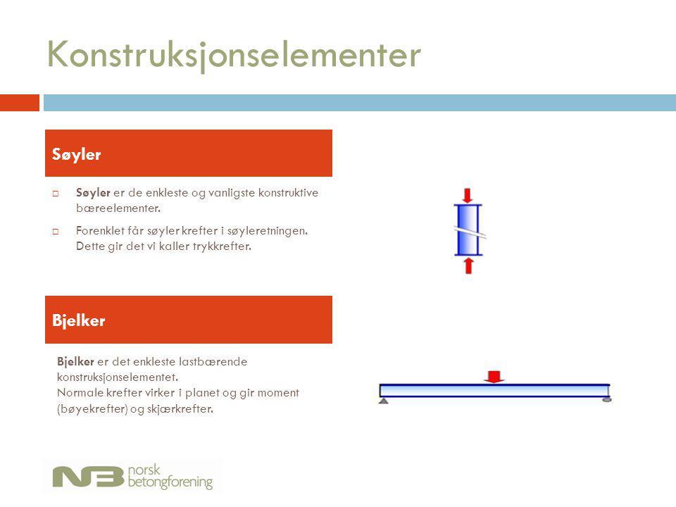 Konstruksjonselementer  Søyler er de enkleste og vanligste konstruktive bæreelementer.  Forenklet får søyler krefter i søyleretningen. Dette gir det