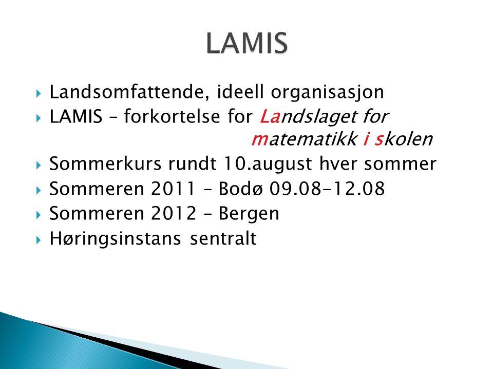  Landsomfattende, ideell organisasjon  LAMIS – forkortelse for Landslaget for matematikk i skolen  Sommerkurs rundt 10.august hver sommer  Sommere