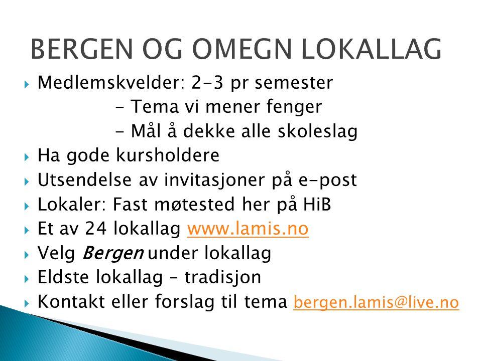  Medlemskvelder: 2-3 pr semester - Tema vi mener fenger - Mål å dekke alle skoleslag  Ha gode kursholdere  Utsendelse av invitasjoner på e-post  L