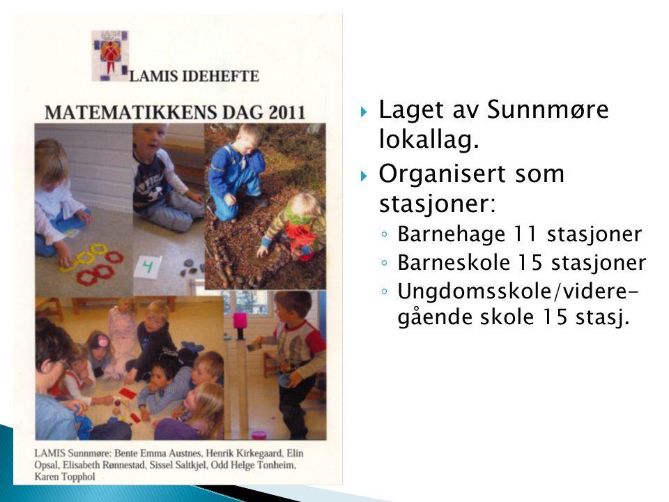  Laget av Sunnmøre lokallag.  Organisert som stasjoner: ◦ Barnehage 11 stasjoner ◦ Barneskole 15 stasjoner ◦ Ungdomsskole/videre- gående skole 15 st