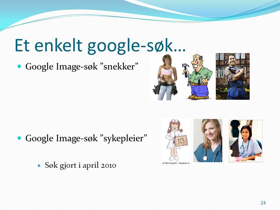 """Et enkelt google-søk…  Google Image-søk """"snekker""""  Google Image-søk """"sykepleier""""  Søk gjort i april 2010 24"""