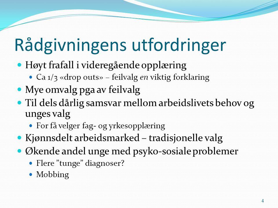 Rådgivningens utfordringer  Høyt frafall i videregående opplæring  Ca 1/3 «drop outs» – feilvalg en viktig forklaring  Mye omvalg pga av feilvalg 