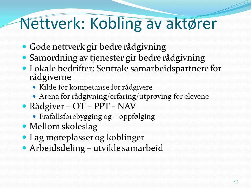 47 Nettverk: Kobling av aktører  Gode nettverk gir bedre rådgivning  Samordning av tjenester gir bedre rådgivning  Lokale bedrifter: Sentrale samar