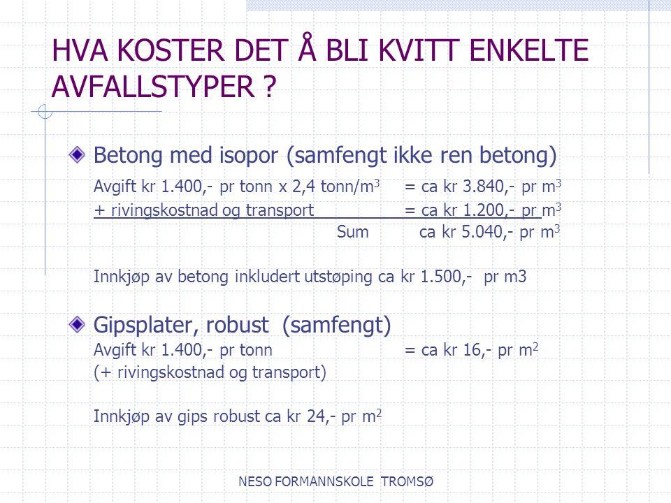 NESO FORMANNSKOLE TROMSØ HVA KOSTER DET Å BLI KVITT ENKELTE AVFALLSTYPER .