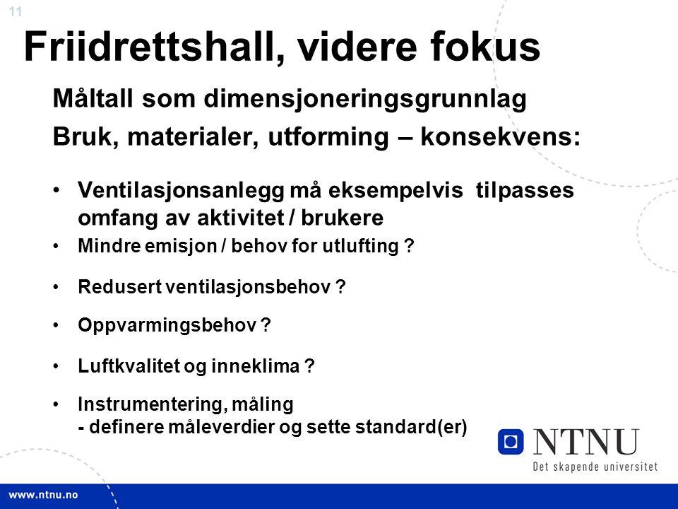11 Friidrettshall, videre fokus Måltall som dimensjoneringsgrunnlag Bruk, materialer, utforming – konsekvens: •Ventilasjonsanlegg må eksempelvis tilpasses omfang av aktivitet / brukere •Mindre emisjon / behov for utlufting .