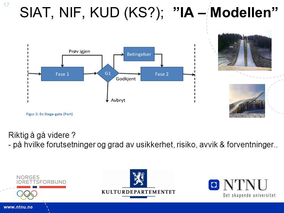 """17 SIAT, NIF, KUD (KS?); """"IA – Modellen"""" Riktig å gå videre ? - på hvilke forutsetninger og grad av usikkerhet, risiko, avvik & forventninger.."""